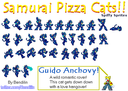 Samurai Pizza Cats. Guido Anchovy by Bendilin.